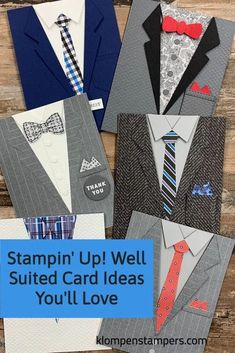Looking for card ideas to make with the Stampin' Up! Well Suited bundle? I've got some designs you're sure to love. Get started with these handmade cards at www.klompenstampers.com #stampinupwellsuited #wellsuitedstampinup #homemadecards #masculinecards #cardmaking #handmadecards #jackiebolhuis #klompenstampers Masculine Cards, Homemade Cards, Get Started, Could Play, Cardmaking, Card Making Tutorials, Going Gray, Basic Grey, Get Well Cards