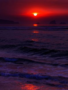 Sunset red in Liencres Natural Park, Cantabria, Spain