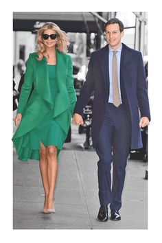 Ivanka Trump and Jared Kushner spotted outside of their New York City apartment ahead of the inauguration.  Ivanka Trump has officially gone green.  Fashion wise, the first-daughter-to-be stepped out in a gorgeous green ensemble that Yahoo Style has confirmed was designed by Oscar de la Renta.