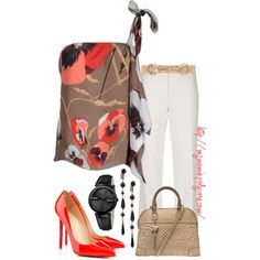 A fashion look from March 2013 featuring brown sleeveless top, holiday pants and christian louboutin pumps. Browse and shop related looks.