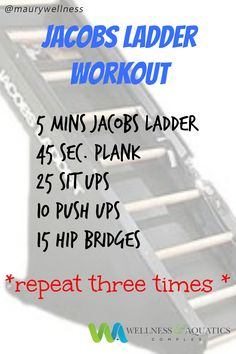Have you tried a Jacob's Ladder Workout yet? Next time you stop by the WAC give this quick workout a try to add a little variety to your routine. #jacobsladder