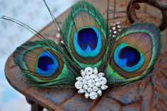 Luxe Peacock Feather fascinator Vintage glam by modwedding on Etsy