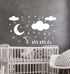 Name Wall Decal - Stars Wall Decals - Vinyl Stickers - Moon Art - Nursery Decor - Girl Name Decal - Clouds Decor - Girl Room Murals Nursery Wall Stickers, Name Wall Decals, Removable Wall Stickers, Nursery Art, Nursery Decor, Cloud Decoration, Star Wall, Moon Art, Textured Walls