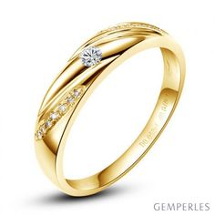 Alliance Étoile - Alliance or jaune diamants - Alliance Femme  #alliance #étoile #orjaune #diamant