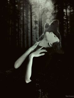 Be yourself. Sii te stesso! #wolf #wolves #woman #night #darkness #soul #moon #moonlight #forest #surrealism #surreal #conceptual #art #photography #blackandwhite #double #exposure #mind