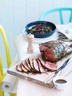 Roast lamb leg.
