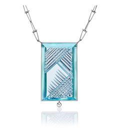 "Colar ""Dom Pedro"" Aquamarine com Diamante. Corte de Bernd Munsteiner. Tom Munsteiner™"