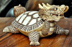 Ox bone Faux Ivory Scrimshaw Carving of Dragon turtle