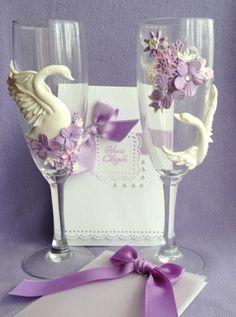 Свадебные бокалы ♥ Лебеди ♥
