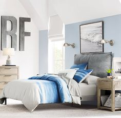 SharesToday I'm sharing some surf style bedroom ideas and inspiration and beach or ocean theme bedroom designs to inspire the room makeover of our youngest son for the Spring One Teen Boy Bedding, Teen Girl Bedrooms, Bedroom Themes, Bedroom Ideas, Bedroom Inspiration, Bedroom Designs, Surf Theme Bedrooms, Bedroom Decor, Bed Ideas