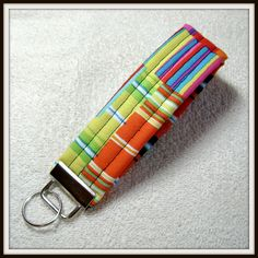 Rainbow Fabric, Modern Fabric, Modern, Fabric, Key Fob, Fabric Keychain, Keychain, OOAK KF-23 by ArtsyFunkyThreads on Etsy