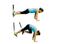 TRX Mountain Climbers Ground Facing Away  Integrates core strength with hip mobility.  Tips: Keep even tension on both foot cradles. Perform with alternating legs.  Adjustment: L  Advanced Strength Exercises | TRX Advanced Suspension Training