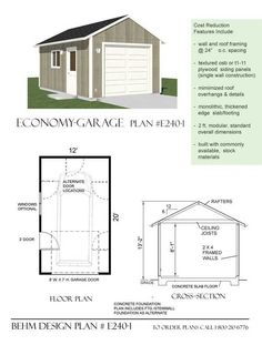 Economy 1 Car Garage Plan E240-1 By Behm Design