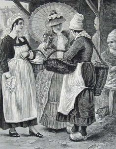 1884 Illustrated London News 'Fishmarket women, Honfleur' - Posted with our latest story from guest blogger Anna Bowman-Dodd, who visited Honfleur in 1890 and was less than impressed… from her (very real) journal here http://www.normandythenandnow.com/the-bad-review-guest-blogger-anna-tells-us-about-her-visit-to-honfleur-in-1890/