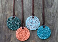 Diffuser Necklace Color Options: From let to right: Jade, natural, earth blue, turquoise Ceramic Pendant, Ceramic Jewelry, Ceramic Beads, Clay Beads, Polymer Clay Jewelry, Diy Jewelry, Handmade Jewelry, Jewellery, Homemade Necklaces