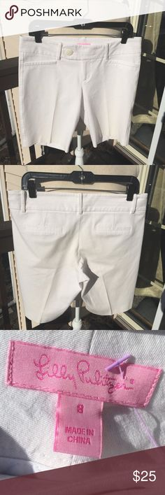 Lilly Pulitzer WHITE Shorts ~ Size 8 Lilly Pulitzer WHITE Shorts ~ Size 8 Honestly, I don't remember ever wearing them.  So, practically brand new.  Super cute! Ladies, the material is Cotton, Rayon & SPANDEX.  ;-) Smoke free home. Ready to ship. Lilly Pulitzer Shorts