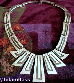 BERNICE GOODSPEED VTG TAXCO MEXICO MEXICAN STERLING SILVER DECO NECKLACE #BerniceGoodspeed