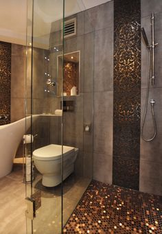 Create a feeling of bathroom space: Floor to ceiling shower tile Modern Bathroom Tile, Bathroom Interior, Small Bathroom, Bathroom Ideas, Bathroom Bin, Bathroom Cabinets, Bathroom Designs, Bathroom Remodeling, Bathroom Faucets