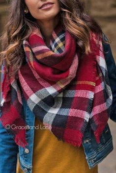 Beautiful & warm plaid blanket scarf looks i love женская мода, одежда, Fall Winter Outfits, Autumn Winter Fashion, Tartan, Diy Blanket Scarf, Flannel Blanket, Mustard Shirt, How To Wear Scarves, Mode Outfits, Pulls