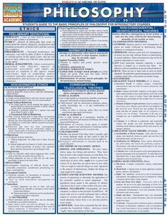 This laminated guide outlines concepts and principles of philosophy in an easy to understand format. Topics covered in this guide include: metaphysics, mind body problems, language games and much more. Philosophy Theories, Study Philosophy, Western Philosophy, Philosophy Quotes, History Of Philosophy, Philosophy Of Education, Student Guide, Psychology Facts, Behavioral Psychology