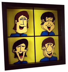 This Beatles pop art features paper cut 3 D cartoons of John Lennon, Paul McCartney, George Harrison Ringo Starr.    Each of the iconic Beatles is composed in 3D.    Bring home this pop art edition The Beatles wall art. John, Paul, George and Ringo are together again in this stunning 3Dpop art print.     This piece comes framed in a black box frame and is hand signed by the artist.     Dimensions: 10×10″ framed