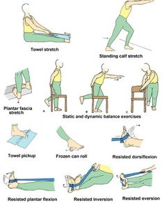 Towel Stretch - Standing calf stretch - Plantar fascia stretch - Static and dynamic balance exercises - Towel pickup - Frozen can roll - Resisted dorsiflexion - Resisted plantar flexion - Resisted inversion - Resisted eversion