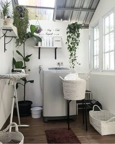153 laundry design ideas with drying room that you must try page 19 Outdoor Laundry Rooms, White Laundry Rooms, Modern Laundry Rooms, Laundry Room Design, Home Room Design, Interior Design Living Room, Kitchen Design, Kitchen Ideas, Drying Room
