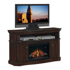 Chimney Free�60-in W Walnut Wood Media Console Electric Fireplace with Thermostat and Remote Control