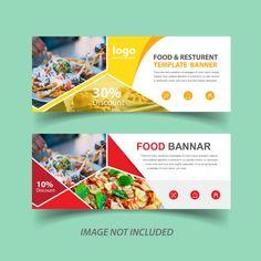Two Food Web Banner for Restaurant Premium Vector