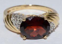 GARNET & 12 DIAMOND .12 CTW 14K YELLOW GOLD RING SIZE 7