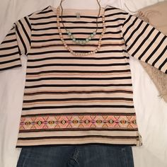 JCrew Striped Top Beautiful Top embroidered in bright colors. 3/4 inch sleeves and side slits. Wear it with your favorite pair of jeans. In Excellent condition.  J. Crew Tops