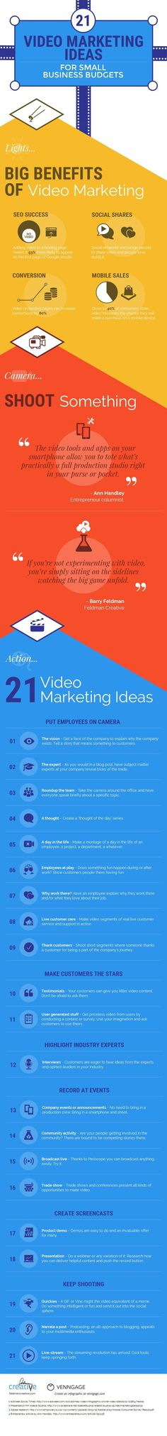 Infografik – Video Marketing Ideas For Small Budgets by Venngage