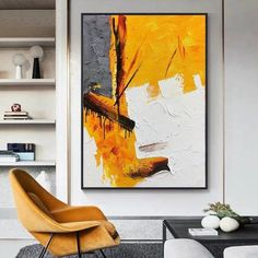 Oil Pastel Paintings, Oil Pastel Art, Simple Acrylic Paintings, Abstract Paintings, Abstract Oil, Your Paintings, Lake Painting, Yellow Painting, Large Canvas Wall Art