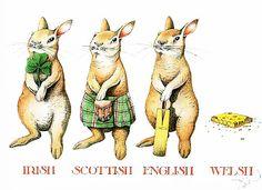 Irish, Scottish, English And Welsh Rabbit tea towel by Simon Drew. Pet Puns, Welsh Rabbit, Learn Welsh, Scottish English, Welsh Words, Catalog Printing, Celtic Thunder, Vintage Easter, Tea Accessories