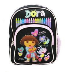 Dora the Explorer Mini Backpack 10 in Black with Boots Crayons >>> Read more reviews of the product by visiting the link on the image.