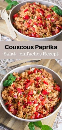 Couscous and pepper salad with mint recipe - MakeItSweet.de - Today I have a simple and quick recipe for a couscous salad with peppers and fresh mint. The prepar - Mint Recipes, Quick Recipes, Quick Easy Meals, Salad Recipes, Diet And Nutrition, Paprika Recipes, Vegetarian Recipes, Healthy Recipes, Healthy Snack Foods