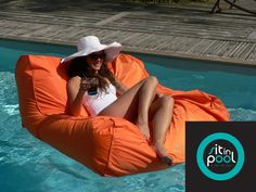 Ocean Blue Water Products Sit in Pool Lounger