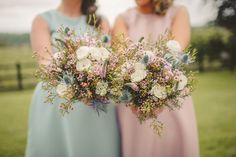 Pastel Bridesmaid Bouquets Flowers Thistle Wax Rose Quirky DIY Mill Wedding http://www.deniseleacockphotography.com/