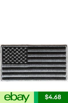 """Biker Vest G9 4952 BLACK and GRAY AMERICAN FLAG 3.5/"""" x 1.9/"""" iron on patch"""
