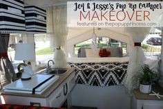 This is such an awesome pop up camper makeover.  I love how the southwestern fabric accentuates the black and white details.