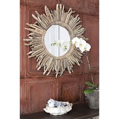 DETAILS Create an eye-catching focal point in your living room or master suite with this stylish round wall mirror, showcasing a sunburst-inspired design. Oversized Wall Mirrors, Big Wall Mirrors, Lighted Wall Mirror, Rustic Wall Mirrors, Fireplace Mirror, Round Wall Mirror, Coastal Mirrors, Mirror Mirror, Mirror Bedroom