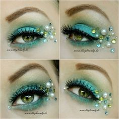 Mermaid inspired blue and green eye shadow enhanced with pearls and crystals.