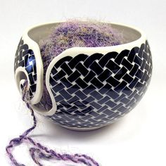 Handmade Stoneware Knitting Yarn Bowl with Black and White Celtic Knot Pattern on Etsy, $42.00
