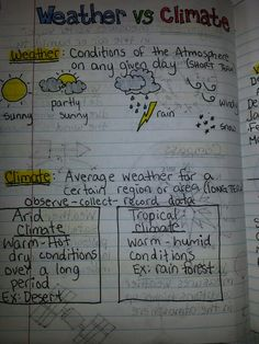 You can have students write down in their science journals what the differences are between weather and climate after doing a lesson on it. SC.6.E.7.6 Differentiate between weather and climate.