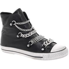 Ash Val Bis Chain Hi Top Sneakers (€155) ❤ liked on Polyvore featuring shoes, sneakers, converse, sapatos, footwear wbtrainers, womenswear, leather sneakers, high top trainers, leather shoes and leather high top sneakers