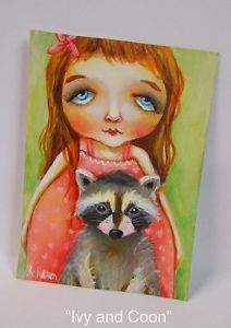 Miniature Racoon Girl ACEO Painting