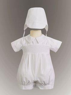 Jeremy Boy's Smocked Cotton Christening Romper