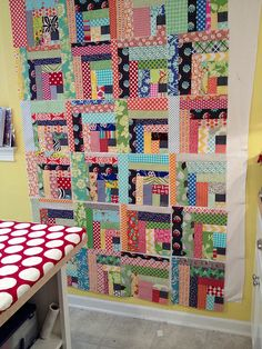 My 100% scrap quilt is ready to assemble! I need a bigger design wall. All 42 blocks do not fit. | Flickr - Photo Sharing!