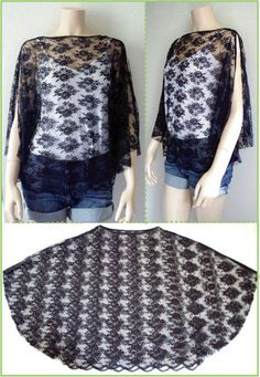 The black lace top was made with bias binding for finishing the raw edges at sleeve opening. This top only looks difficult to make when worn on the body, but as you can see in the flat garment picture,