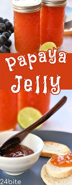 Papaya Jelly Recipe Without Commercial Pectin. Jelly Recipes, Lime Recipes, Drink Recipes, Jam Recipe With Pectin, Guava Jam, Different Fruits And Vegetables, Peanut Butter Sandwich, Vegetable Drinks